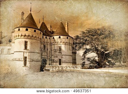 Medieval castles of old france - picture in painting style