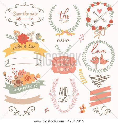 Wedding romantic collection with labels, ribbons, hearts, flowers, arrows, wreaths, laurel and birds. Graphic set �  Save the Date invitation in vector. stock photo