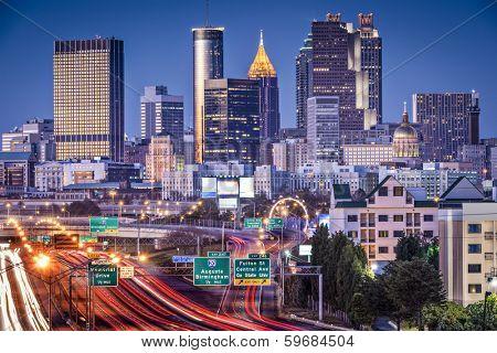 Atlanta, Georgia, USA twilight rush hour.