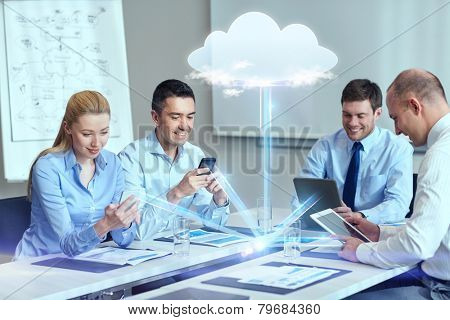 business, people, cloud computing and technology concept - smiling business team with smartphones, t