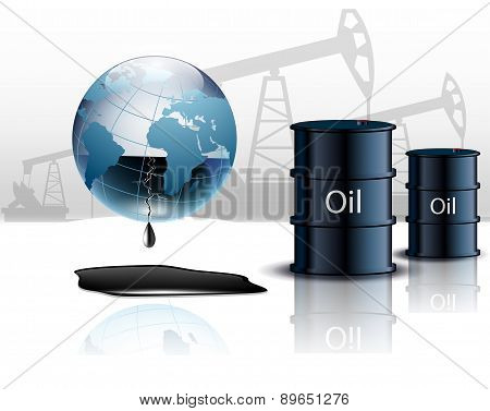 Oil pump oil rig energy industrial machine and barrels of oil stock photo