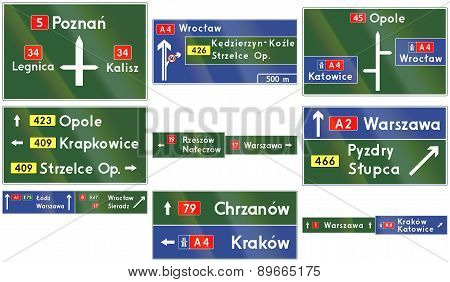 Collection of different types of direction signs on highways in Poland. stock photo