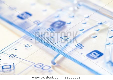 Plastic rulers stock photo