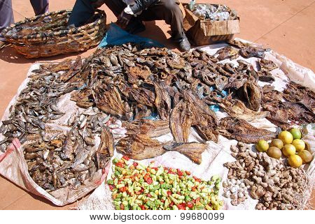 The dried fish typical of Tanzania for sale in the market of Pomerini village Africa stock photo