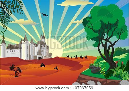 landscape - castle in the desert in the vector stock photo