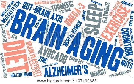 Brain Aging word cloud on a white background. stock photo