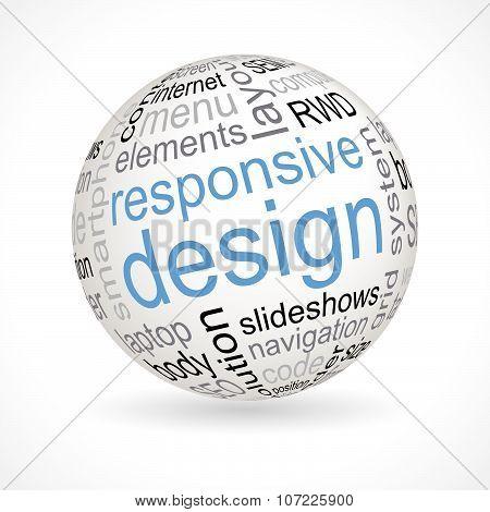 Responsive design theme sphere with keywords full vector stock photo