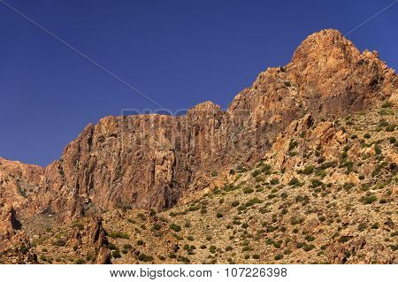 Desert landscape in Antiatlas Mountains, Morocco, Africa stock photo