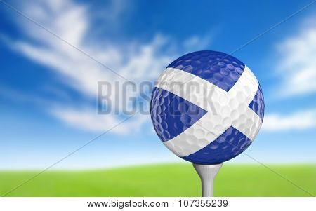 Close-up of a golf ball with the flag of Scotland realistically rendered in 3D. stock photo