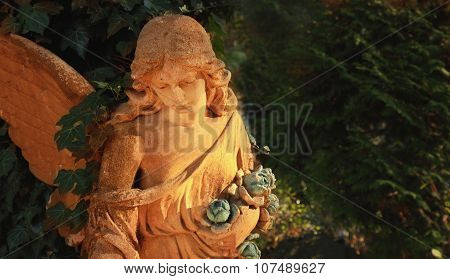 Guardian angel with wings as a symbol of safety and security stock photo