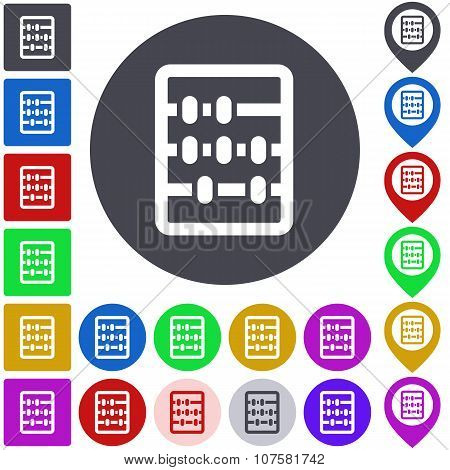 Color abacus icon set. Square, circle and pin versions. stock photo