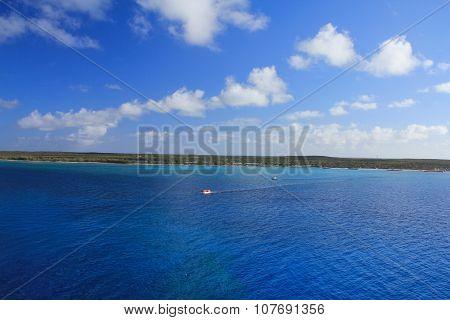 View from sea on Eleuthera island Bahamas stock photo