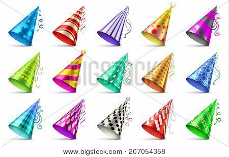 Paper birthday party hats isolated. Funny caps for celebration vector set. Cap cone for birthday party illustration stock photo