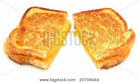 Grilled Cheese Sandwich Isolated On White Background stock photo