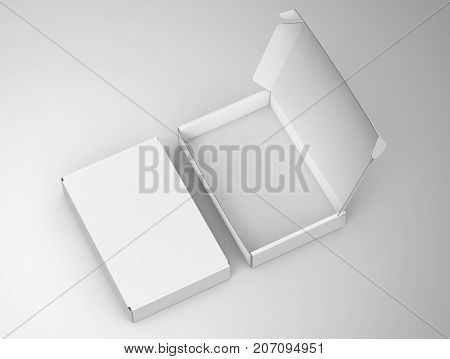 Blank tuck top box template, white container mockup in 3d rendering stock photo