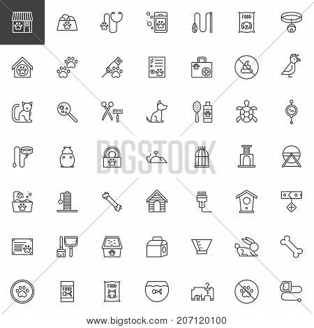 Pet shop accessories line icons set, outline vector symbol collection, linear style pictogram pack. Signs, logo illustration. Set includes icons as toy, animal, dog, aquarium, cat, hamster, veterinary
