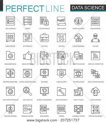 Data Science thin line web icons set. Data analysis outline stroke icons design stock photo