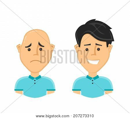 sad bald man and a happy man with a beautiful luxuriant long hair. Vector design flat cartoon character illustration. Isolated on white background. baldness concept stock photo