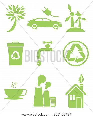 Set of icons in clean environment concept. Electrocar sign, windmill recycling sign, air pollution, saving of fresh water and stop smog symbols stock photo