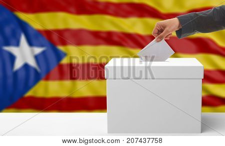 Referendum in Catalonia. Voter hand on a Catalonia waving flag background. 3d illustration stock photo