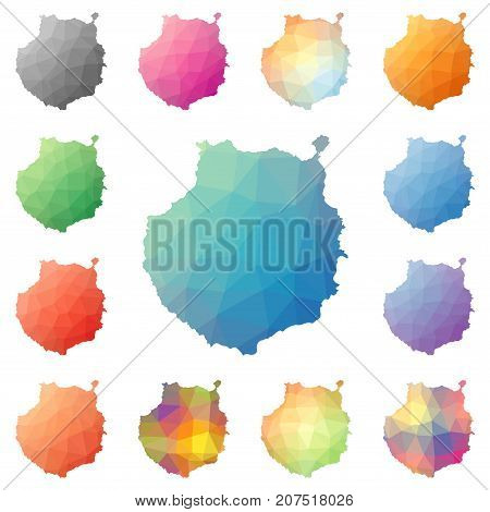 Gran Canaria geometric polygonal mosaic style island maps collection. Bright abstract tessellation low poly style modern design. Gran Canaria polygonal maps for your infographics or presentation. stock photo