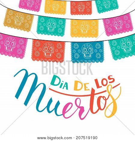 Dia de Los Muertos, Mexican Day of the Dead card, invitation. Party decoration, string of lights, handmade cut paper flags, skull, floral decor. Old wooden background. stock photo