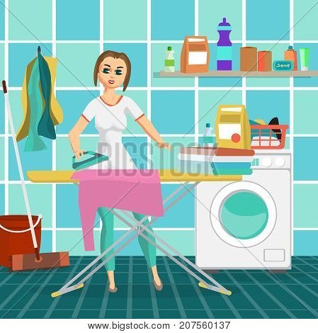 Woman housewife iron clothes on an ironing board in bathroom. Flat cartoon vector illustration stock photo