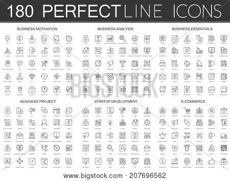 180 modern thin line icons set of business motivation, analysis, business essentials, business project, startup development, e-commerce isolated