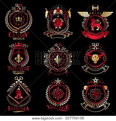 Vintage decorative heraldic vector emblems composed with elements like eagle wings religious crosses armory and medieval castles animals. Collection of classy symbolic illustrations. stock photo