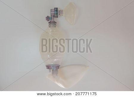 ambu bag on a white background ,Breathing device . Medical concept . stock photo