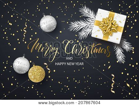 Merry Christmas and Happy New Year background for holiday greeting card, invitation, party flyer, poster, banner. Christmas tree balls, white fir branches, gift box and confetti. Vector illustration.