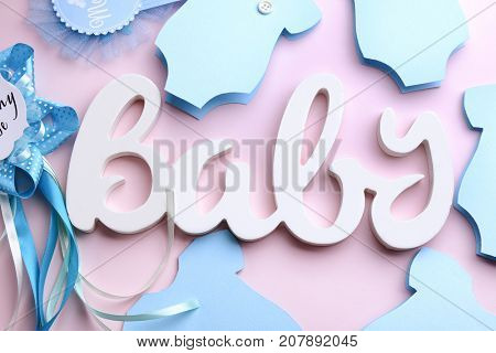 Composition with word BABY on color background stock photo