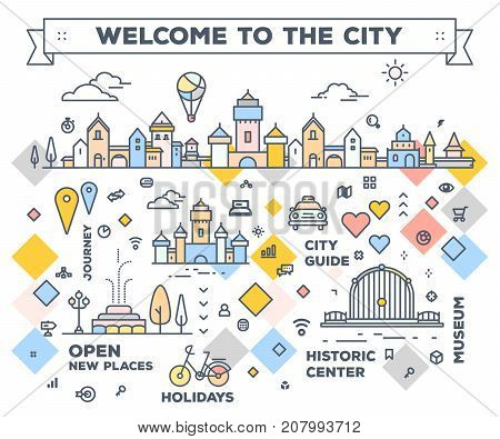 Vector Illustration Of City With Navigation Elements. Infographic Route Concept. City Road Map With