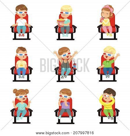 Cute little kids in 3D-glasses on red chairs in movie theater set. Collection with different children s facial emotions in cinema. Cartoon design character. Flat vector illustration isolated on white.