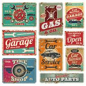 Vintage car service metal signs and posters vector  Image ID:113956973