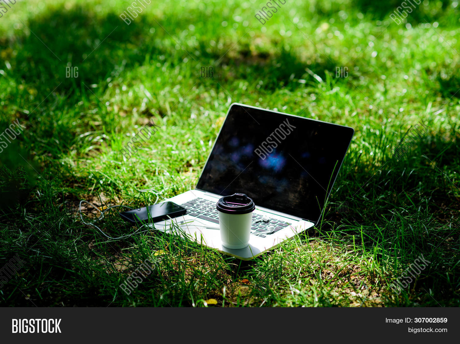 Coffee Break Outdoors. Summer Park. Work And Relax In Natural Environment. Its Coffee Time. Coffee T