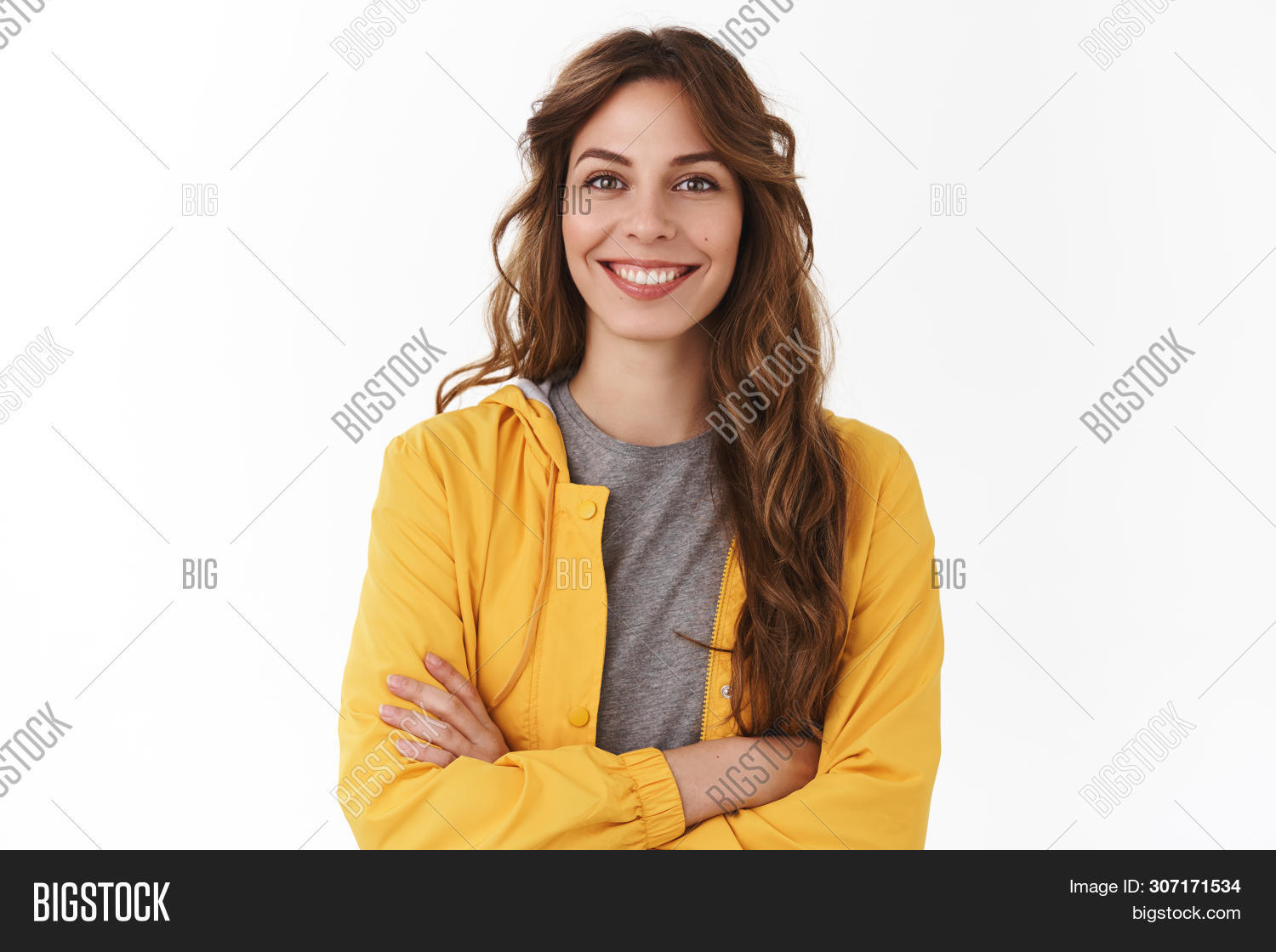 Cheerful young new attractive female employee ready help energized look upbeat confident camera cross arms chest self-assured smiling toothy aim bright successful future, standing white background