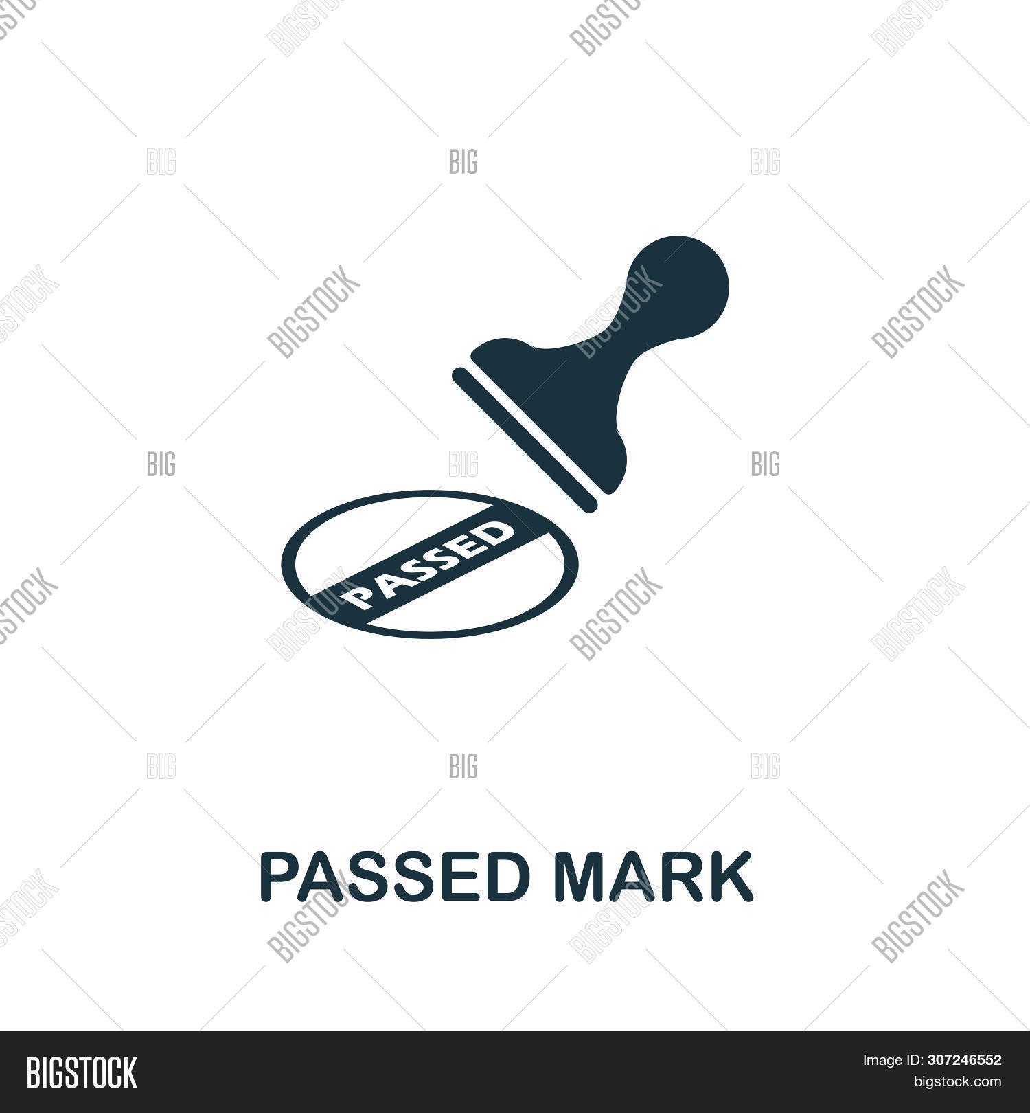 Passed Mark Icon Symbol. Creative Sign From Quality Control Icons Collection. Filled Flat Passed Mar