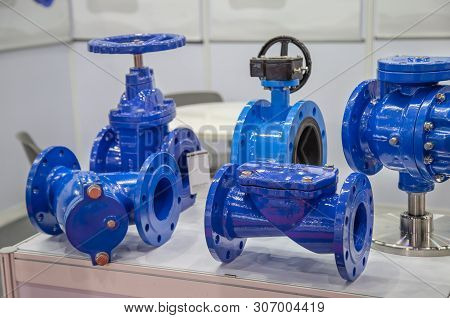 Industry valve. check valve, gate valve, butterfly valve and strainer stock photo