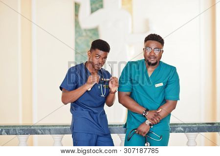 Two professional african male doctor at the hospital. Medical healthcare business and doctor service of Africa. stock photo