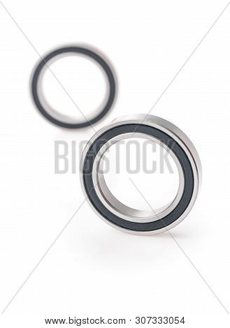 bearing over white background. two bearings isolated on white stock photo