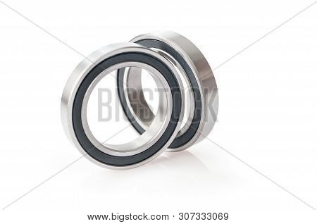 two bearings isolated on white. bearing over white background stock photo