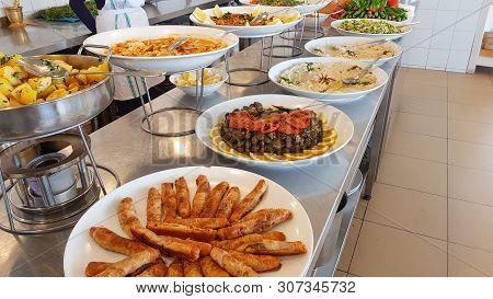 Dishes of Lebanese cuisine.Lebanese food. Sidon, Lebanon stock photo