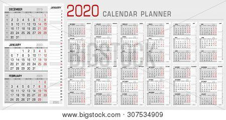 Calendar planner template 2020. Week start from Monday. 3 month calendar on page, with flush right stripe calendar of the topical month. Ready for print. Vector Illustration stock photo