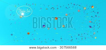 Clean space and signs confetti. Usefull colorific illustration. Background light. Ultra Wide background texture. Colorful recent abstraction. Azure main theme. stock photo