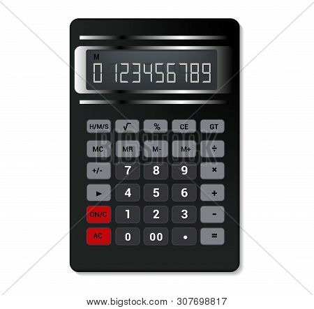 Calculator vector business accounting calculation technology calculating finance illustration set of mathematical object with buttons calculated mathematics numbers isolated on white background stock photo