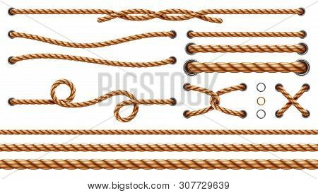 Set of isolated straight ropes and tied cross strings, realistic navy thread through metallic holes. Intertwined navy 3d cord. Vintage brown looped fiber with knot and noose. Nautical twisted whipcord stock photo