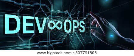 Devops Agile development and optimisation concept on virtual screen. stock photo