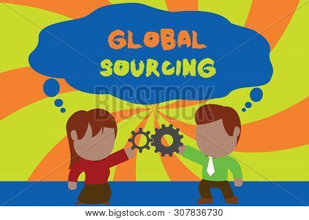 Text sign showing Global Sourcing. Conceptual photo practice of sourcing from the global market for goods Standing young couple sharing gear. Man tie woman skirt commerce relation. stock photo