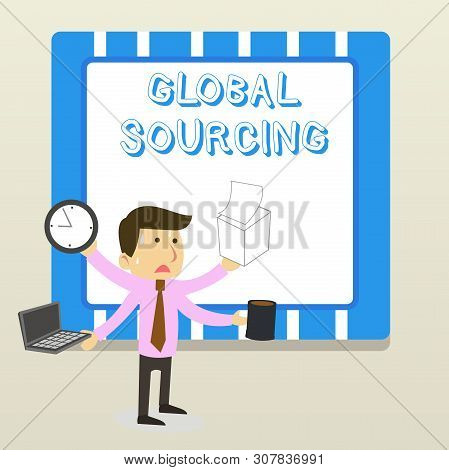 Word writing text Global Sourcing. Business concept for practice of sourcing from the global market for goods Stressed Out Male Employee Manager Many Armed Multitasking Meet Deadline. stock photo
